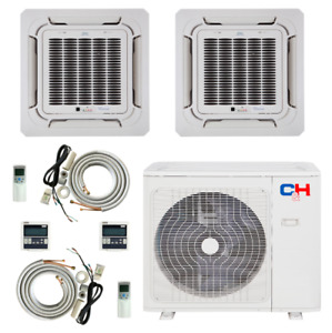 2 Zone Ductless Mini Split Ceiling Cassette A C 9000 12000 with remotes amp; kits