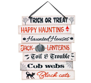Happy Halloween Trick or Treat Hanging Wall Sign Home Decor