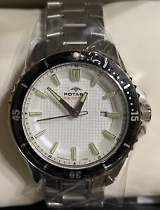 ROTARY AQUASPEED AGB00293/06 S. Steel White Textured Dial Men's Watch 42 mm