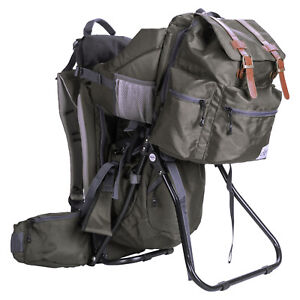 ClevrPlus Baby Carrier Child Backpack Hiking Camping wDetachable Bag Olive