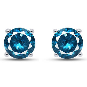 1.00 Ct Round Cut Blue VVS1 Diamond Solid 10K White Gold Stud Earrings