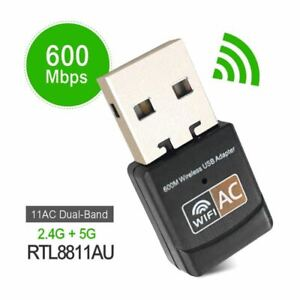 600Mbps Wireless USB Ethernet PC WiFi AC Adapter Lan 802.11 Dual Band 2.4G  5G