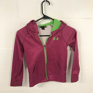 under armour girls 6 Hoodie - Pink full zip - see cuffs - free shipping