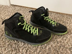 Boy Under Armour Basketball Shoes Black Green Size 5