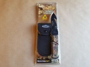 Kutmaster TEAM REALTREE Guthook Folding Knife with Sheath High Carbon NIP