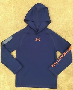 Boys Under Armour Size 6 Long Sleeve Hooded Pullover Shirt School Fall EUC