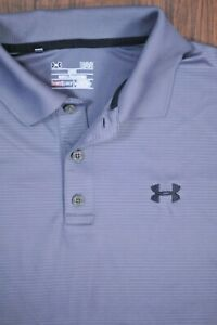 Under Armour Performance Polo Shirt Gray Stripe Men's Large L