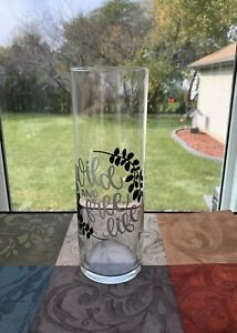 Personalized Beautiful Glass Vinyl Decor Vase, 'Wild and Free Life'