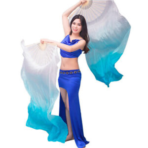 New Arrivals Women Cheap Chinese Silk Belly Dance Fan Veils White Gradient Color