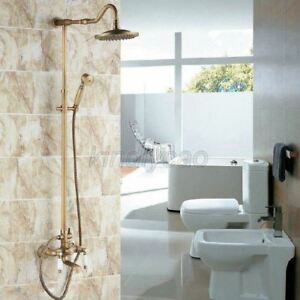Antique Brass Bathroom Rainfall Shower Faucet with Hand Sprayer Tub Spout Tap $155.99