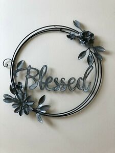 Farmhouse Style Blessed Metal Wall Sign Cursive Embellished with Flowers Round