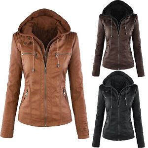 Fashion Women PU Leather Jacket Motorcycle Biker Zip Hooded Coat Winter Outwear