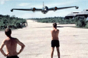 A B 57 bomber making a low pass over US base in Vietnam War Photo 4x6 inch N $6.99