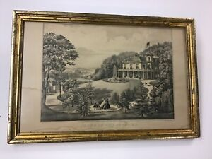 """Original Currier amp; Ives 1862 Lithograph """"Life In The Country"""" Evening $169.00"""