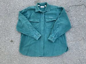 Vintage LL Bean Embroidered Chamois Cloth Button Up Shirt Size 14