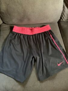 Nike Women Size S Pink Gray Dri Fit 5in Mid Length Running Shorts