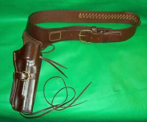 Leather Western Style Single Action Holster & Belt Triple K 22cal fits 35-40