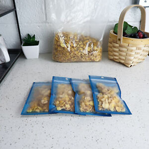 Blue Windowed Snack And Dry Food Portable Storage Bag With Hang Hole