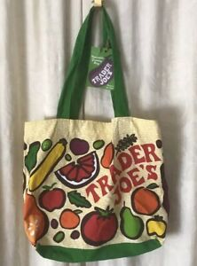 Trader Joe#x27;s TJ#x27;s Vintage Reusable Shopping Canvas Tote Bag Cloth Grocery NWT