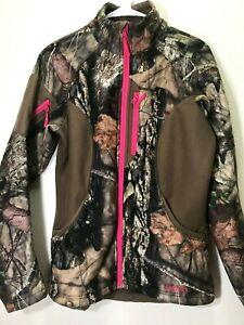 Women Cabelas Herter's Size S P Camouflage Coat Pink Trim Full Zip Fleece Lined