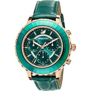Swarovski 5452498 Green Leather Strap Rose-gold tone PVD Chrono Women's Watch