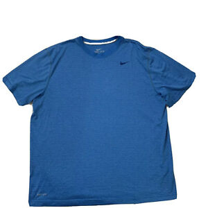 Nike Dri Fit Athletic Short Sleeve Top Blue Stripes Mens Size XXL