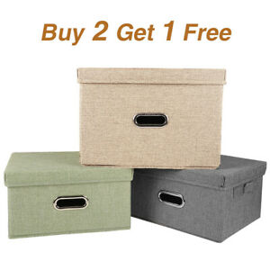 Heavy Duty Linen Fabric Cube Storage Bins Boxes w/Lid Handle Baskets Collapsible