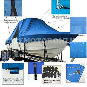 Bluewater offshore 2550 Center Console Fishing T-Top Hard-Top Boat Cover Blue