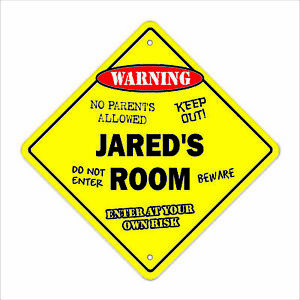 Jared's Room Decal Crossing Xing kids bedroom door children's name boy girl