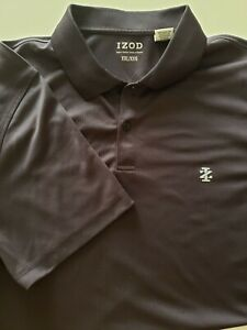 Izod Men's Polo Shirt Big And Tall Size 2XL Solid Black drifit