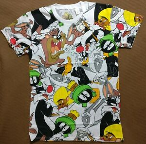 Looney Tunes Shirt Bugs Bunny Marvin Taz Sylvester All Over Group Mens Medium
