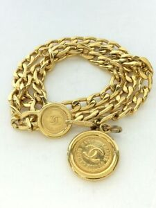 authentic CHANEL Chain Belt Accessories Gold color Coco mark design Kawaii