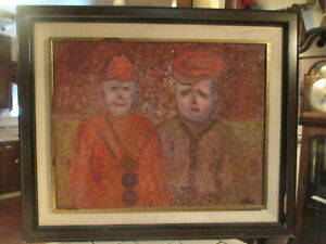 VINTAGE MID CENTURY MODERN ABSTRACT FIGURAL OIL PAINTING SIGNED B.LEWIN