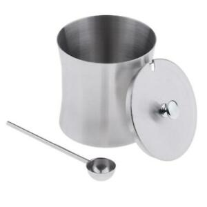 Stainless Spice Dispenser Cruet with Scoop Condiment Sugar Herb Container