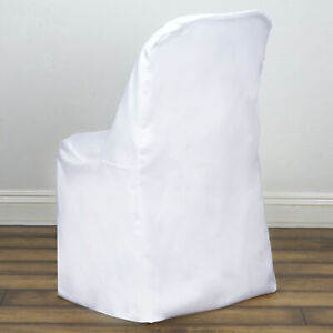 50 White Polyester FOLDING Flat CHAIR COVERS Wedding Party Banquet Decorations