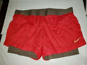 Nike Dri Fit Women Double Layer SZ M Running Workout Shorts Red over Brown 819