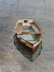 seascape art oil painting rowing boat reflection original by artist 18x24 signed