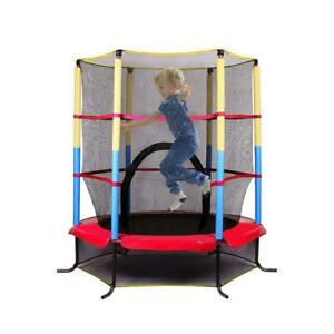 55'' Round Trampoline Combo Bounce Jump Safety Enclosure Net Fitness Equipment