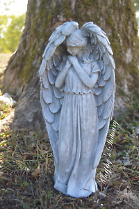 Solid Concrete Angel Statue Hand Painted Marble Finish $28.99