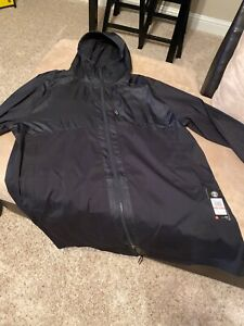 UNDER ARMOUR Mens Black Loose UA Pursuit Fishtail Hooded Jacket  3XLT  $150