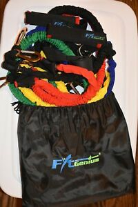 FitGenius Exercise Resistance Bands wCushioned Handles (11-Piece Set) NEW