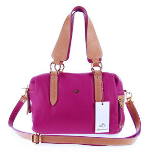 BRUNO ROSSI Italian Made Magenta Calfskin Leather Designer Satchel Shoulder Bag