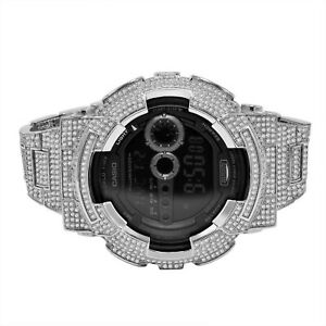 Men's G-Shock DW 6900 White Gold Tone Custom Bezel Full Cz's Band Designer Watch