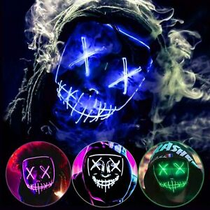 Halloween Clubbing Light Up LED Mask Costume Rave Cosplay Party Purge 3 Modes $8.99