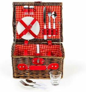 Wicker Picnic Basket Gift Set for 2 - Reusable Plates Cups Utensils Red Plaid