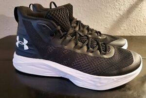 New Under  Armour Mens Basketball Shoes High Tops Black Sneakers Black Size 10