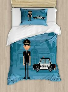 Lunarable Police Duvet Cover Set, Cartoon Officer Cop Standing in Front of The S