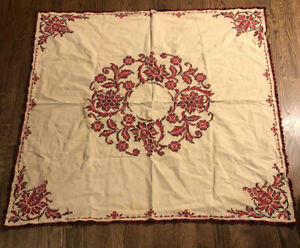 """Vintage Embroidered Crewel Pink Black Floral Tan Tablecloth 45 x 48"""" Crocheted"""