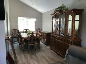 Formal Dining Room Set Table Chairs China cabinet sideboard leaf Pads