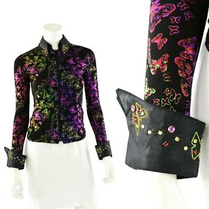 Womens 2XS Equestrian Embellished Butterfly Print Show Shirt 1849 Ranch Wear